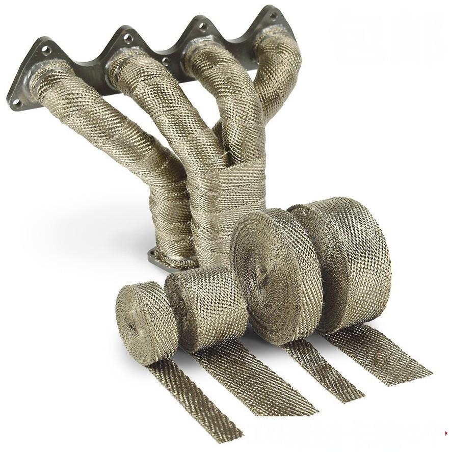15Meter Krümmer Hitzeschutzband / Auspuffband / Heat wrap aus Lavafaser. 50 mm breit